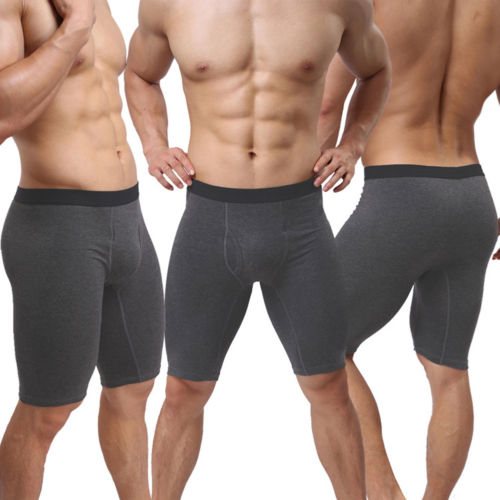 Men Underwear Mid-waist Boxers Shorts Convex Pouch Long Leg Underpants