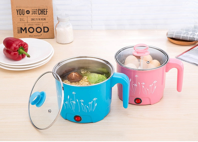 Multifunction Electric Skillet Stainless Steel Hot Pot Noodles Rice Cooker