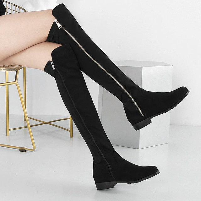 High Quality Knee Soft Flock Leather Knee Winter Comfortable Long Boots