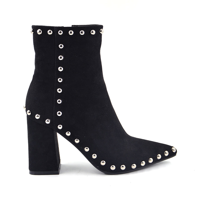 New Flock Leather pointed toe heel women Rivets High Heel Ankle Boots