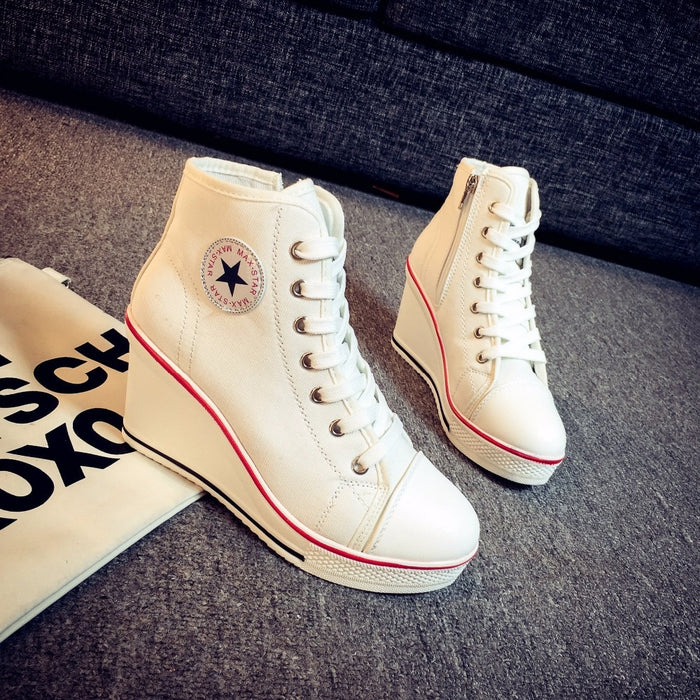 Women's Canvas High-Top Wedge Platform Lace up Side Zipper Fashion Sneakers