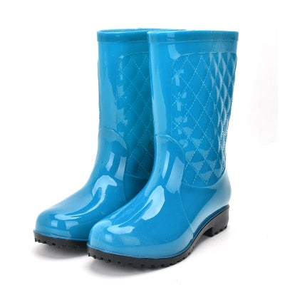 Women Non-slip PVC Waterproof Water Shoes Mid-Calf Rainboots Winter Warm Inserts