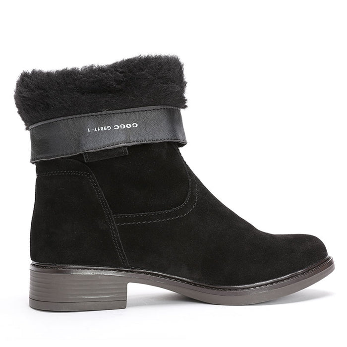Genuine Leather Winter Women Suede Waterproof Warm Heel Shoes Mid-Calf Boots