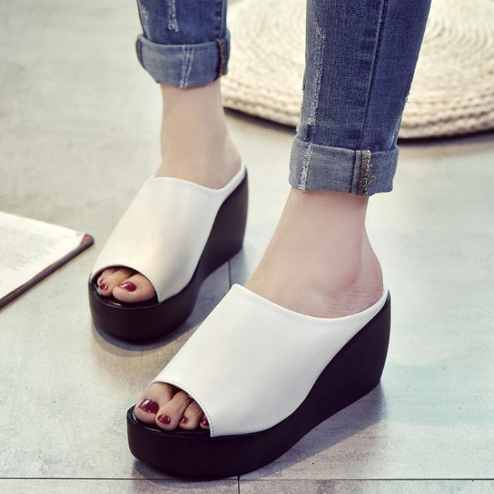 Women 7.5cm Platform Wedges Women's Shoes Thick Heel Open Peep Toe Sandals