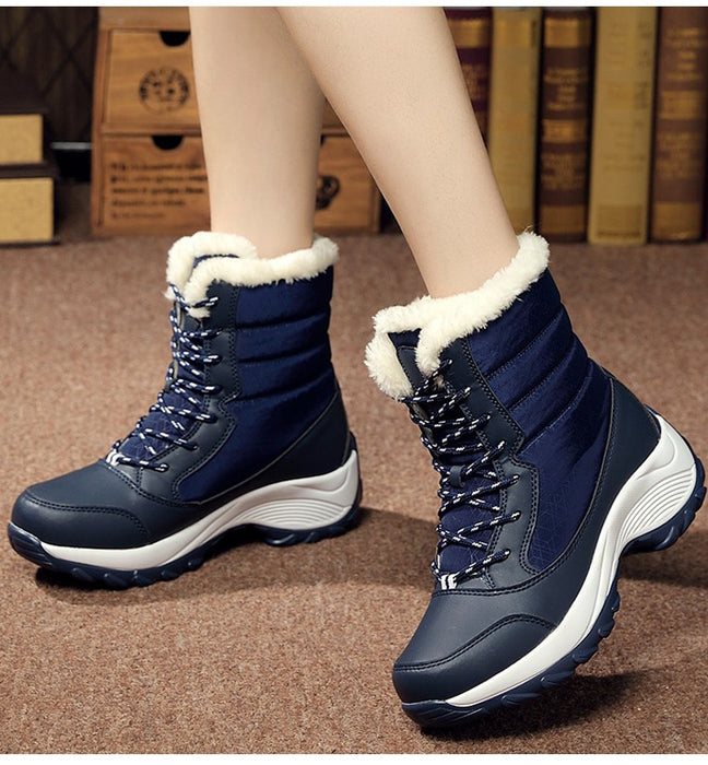 Women Keep Warm Winter Warm Fur  Plush Round Toe Ankle Platform Booties