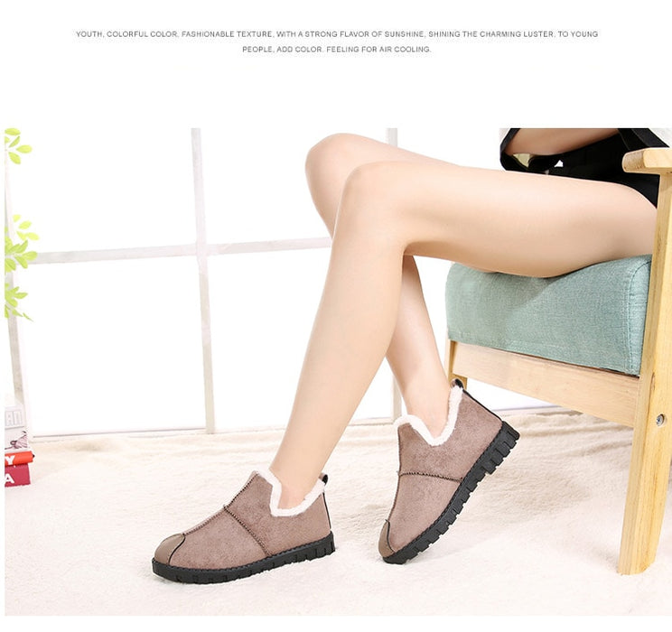 New Fashion Suede Ankle Boots Women Flats Winter Warm Short Boots