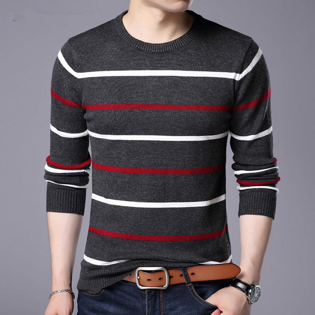 Pullover Men Brand Clothing Wool Slim fit Sweater Men Casual Striped Pull Jumper Men