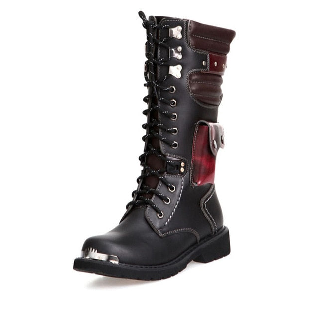 Men Buckle Lace Up High Combat Boots Fashion British Metal Military Boots