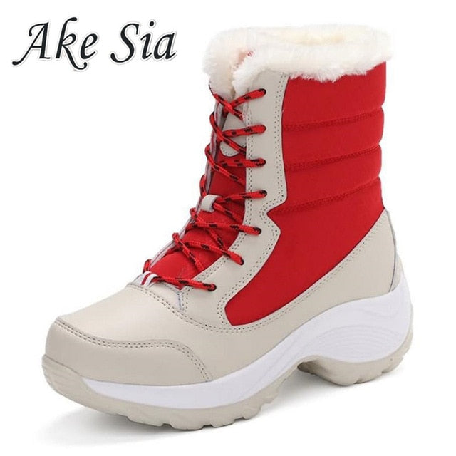 Winter Snow Boots for Women Winter Keep Warm Shoes Mid-Calf Platform Boots