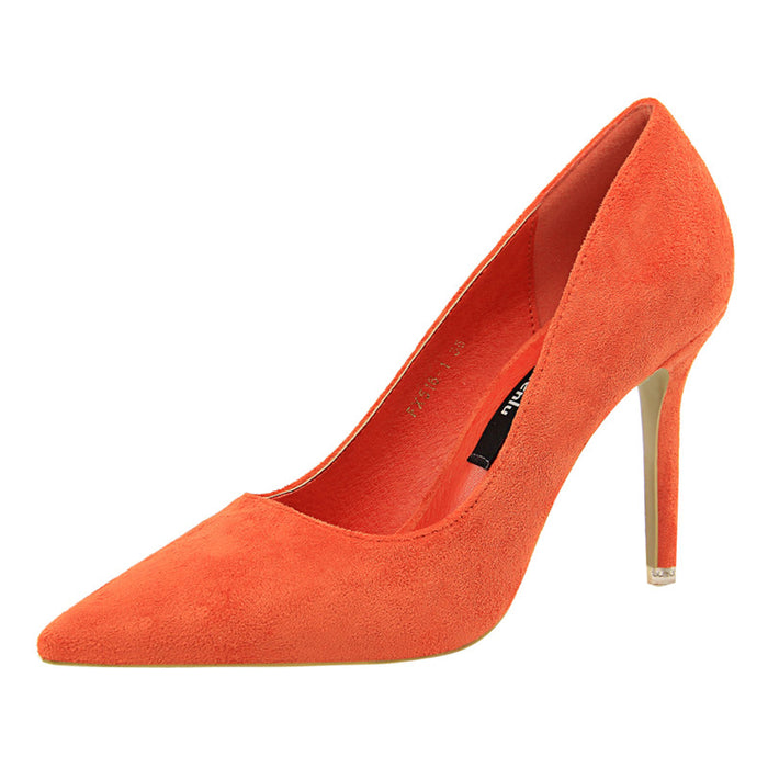 Women Flock High Heels Pumps Ladies Pointed Toe Shoes