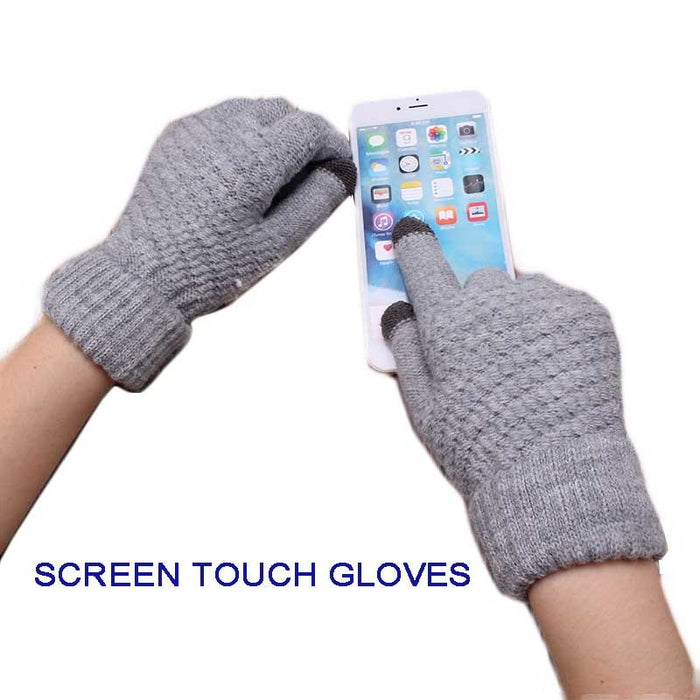 Solid Magic Touch Screen Women Men Warm Winter Stretch Knit Mittens Wool Full Finger Gloves