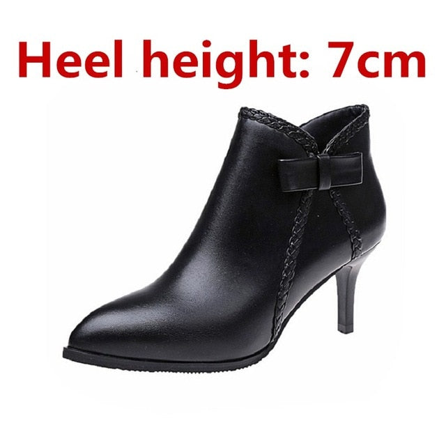 Fashion Comfortable Black Pu Leather Ankle high heel martin boots
