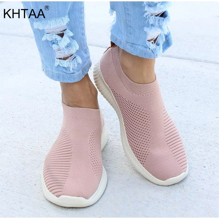 Knitting Women's Sneakers Stretch Fabric Flat Platform Fashion Ladies Shoes Female Casual Footwear