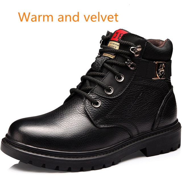 Men Winter Shoes Warm Comfortable Fashion Genuine Leather Martin Snow Boots