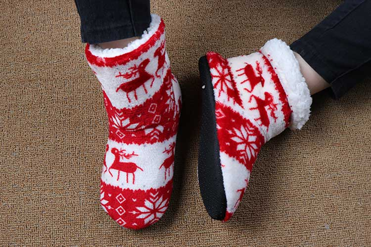 Winter Socks Woman Home Slippers Christmas Elk Indoor Shoes Warm Contton Slipper Plush Insole