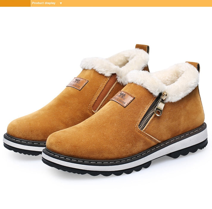 Winter Shoes Men Plush Warm Men Boots Black Brown Rubber Anti skidding Winter Boots
