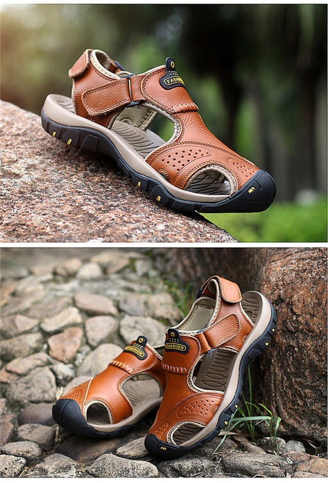 Genuine Leather Men Roman Brand Casual Summer Sandals