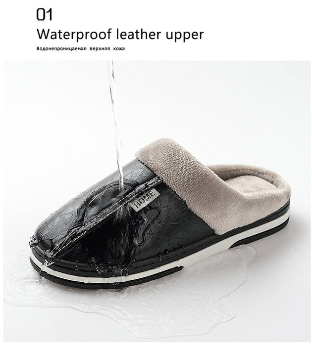 Men Leather Warm House Slippers