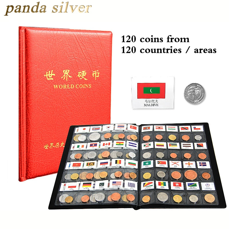120 coins from different Countries of world , Original Real mint Coin with Leather album , world Collection Set collectibles
