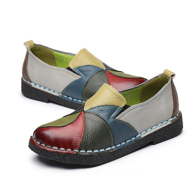 Fashion Genuine Leather Flat Women Loafers Shoes