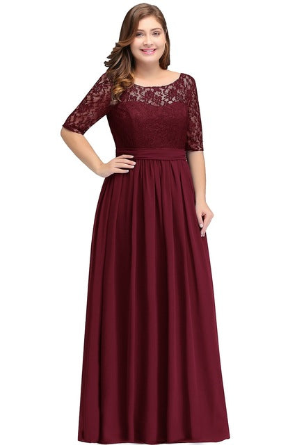 Floor Length Lace Plus Size Bridesmaid Dress