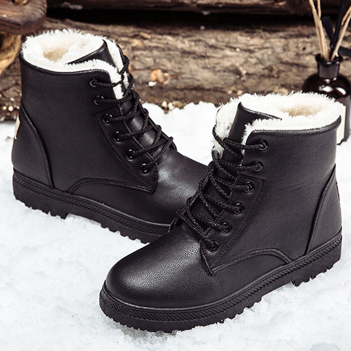 Black women winter women's classic style ankle snow booties