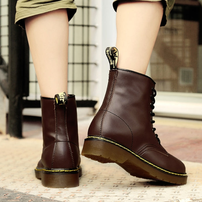 New PU Leather Ankle Boots Women Flat Platform Martins Boots