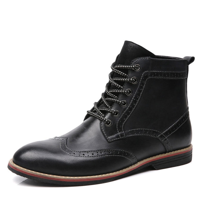 NEW Men Vintage Brogue Style Fashion Lace-up Warm Boots