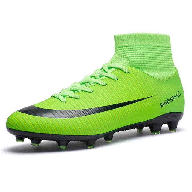 Outdoor Men Soccer Shoes Football Boots High Ankle Cleats