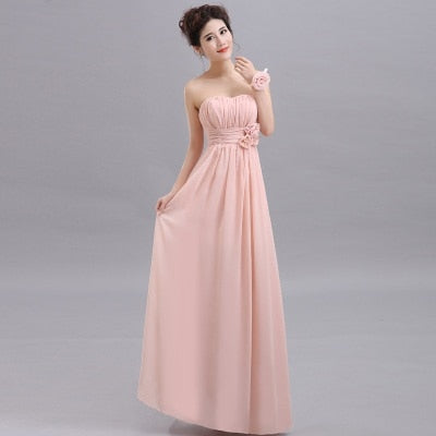 Beauty Long Chiffon Blush Pink Bridesmaid Dresses