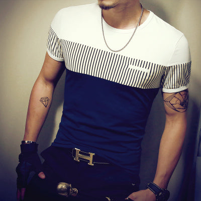 Fashion Men's Casual Patchwork Short Sleeve T-Shirt