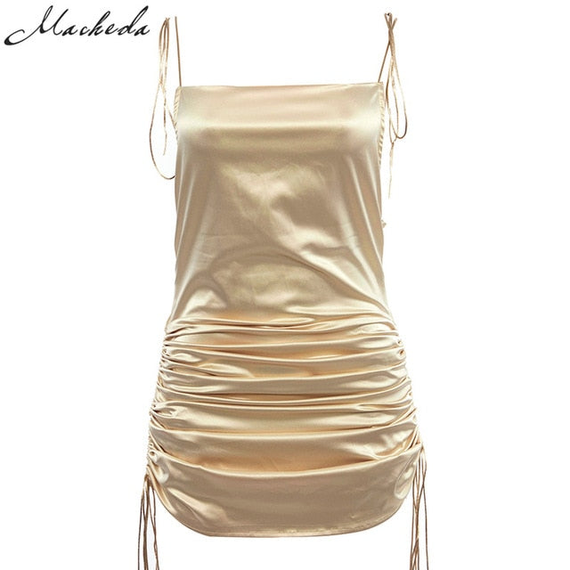 Fashion Solid Spaghetti Straps Backless Sleeveless Ladies Casual Dress