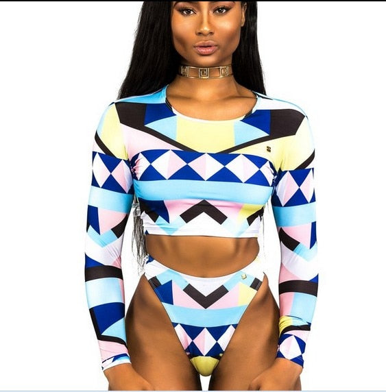 African Print Tribal Swimsuit Long Sleeve Swimwear