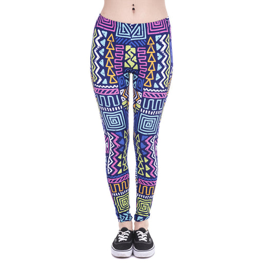 New Leggings African Zig Zag Purple Printing Fitness legging