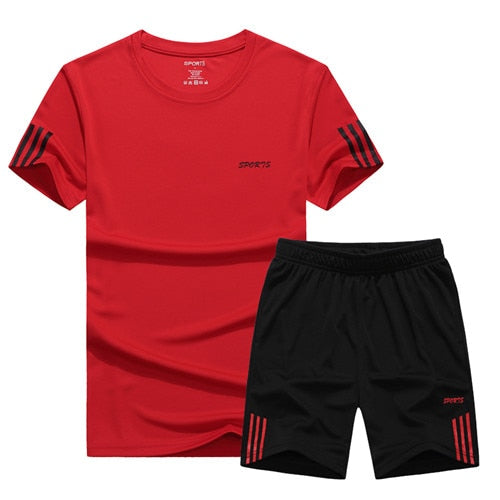Men Two Pieces Short Sleeve T-shirt & Shorts Sets