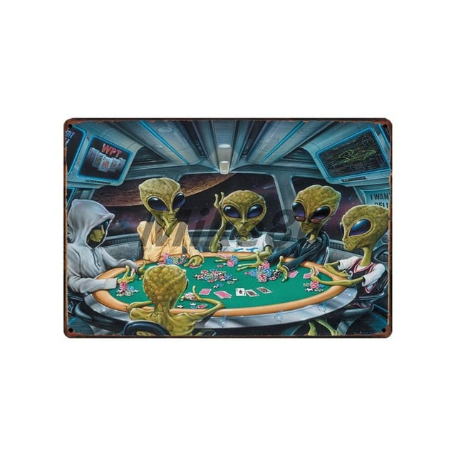 [ Mike86 ] Warning AREA 51 I WANT TO BELIEVE UFO Aliens Metal Sign Wall Plaque Poster Custom Painting Room Decor Art LT-1695