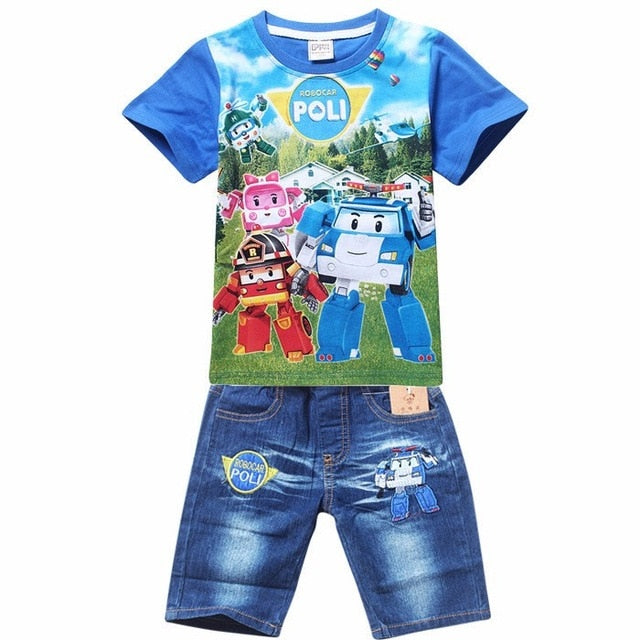 Children Spiderman Kids Clothing T Shirt Jeans Shorts Sets