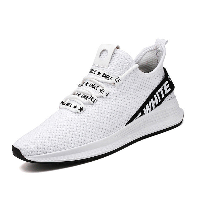 Men Fashion Air Mesh Off White Casual Sneakers