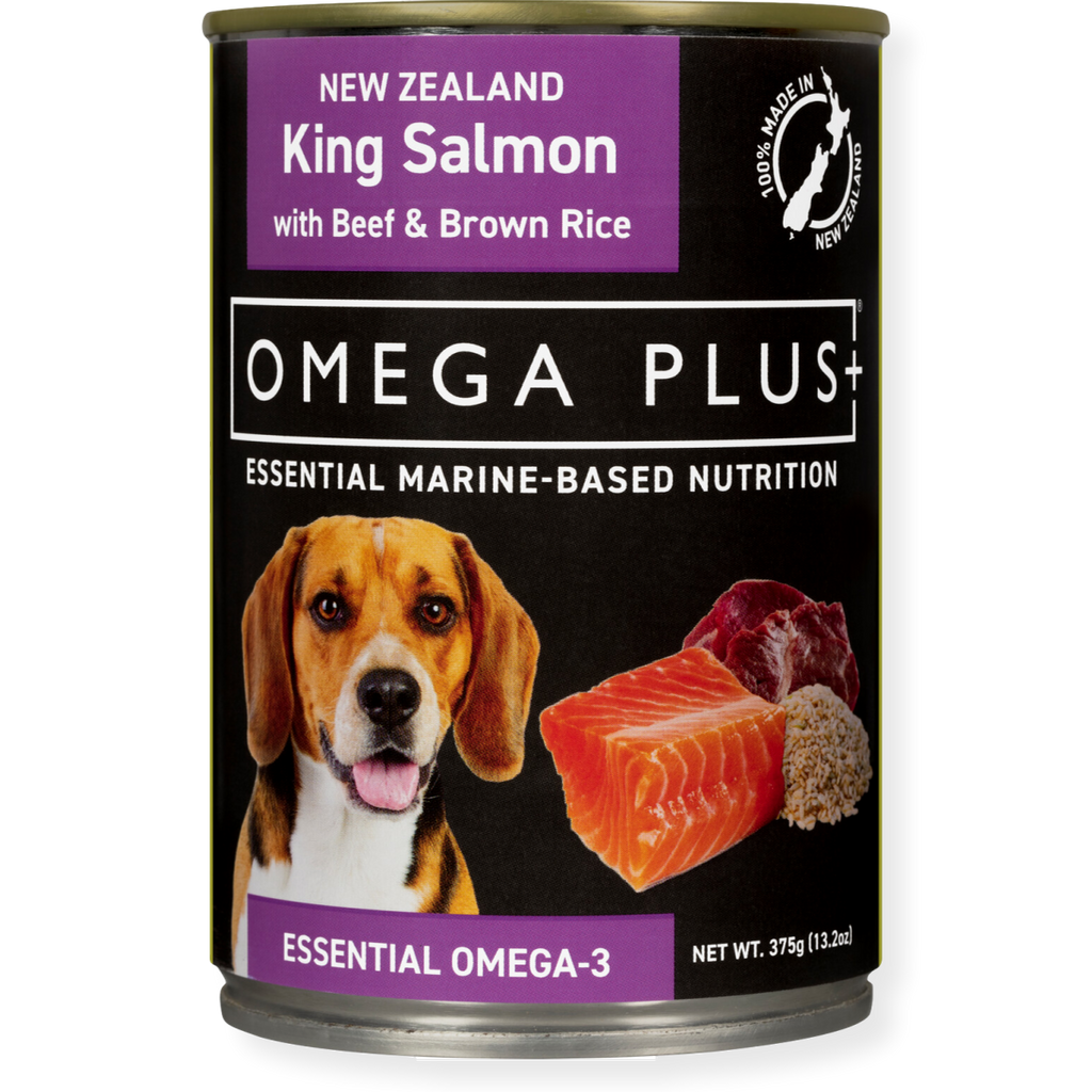 Omega Plus Canned Dog Food King Salmon & Beef with Brown Rice 375g