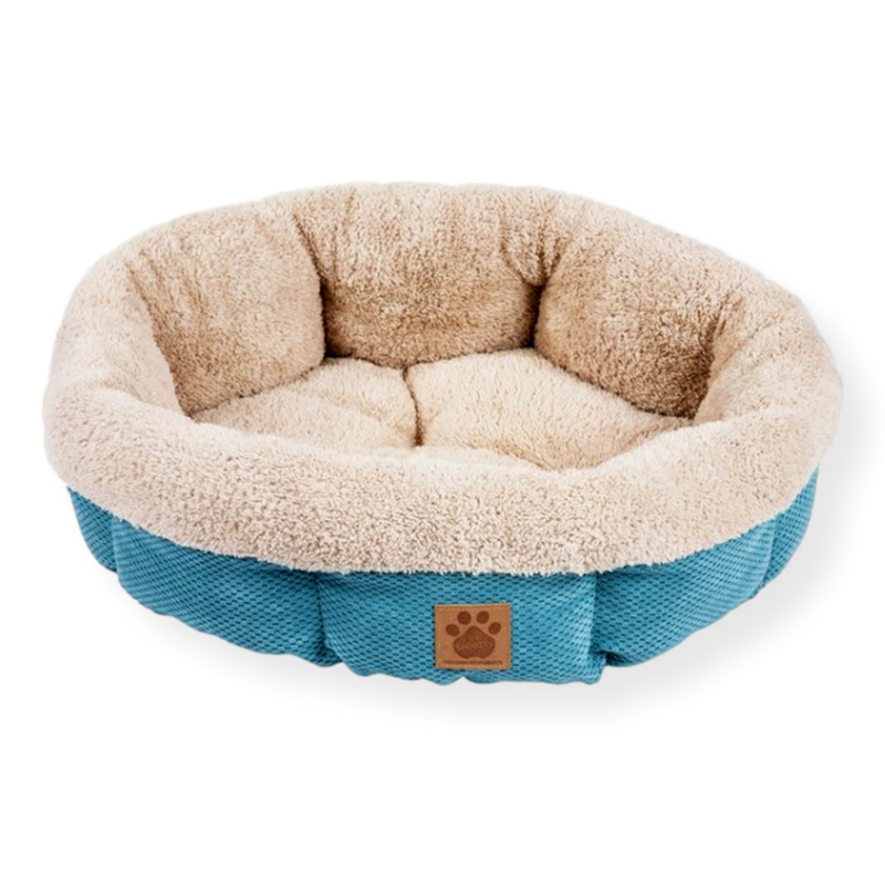 Snoozzy Shearling Cup Dog Bed Teal 53cm