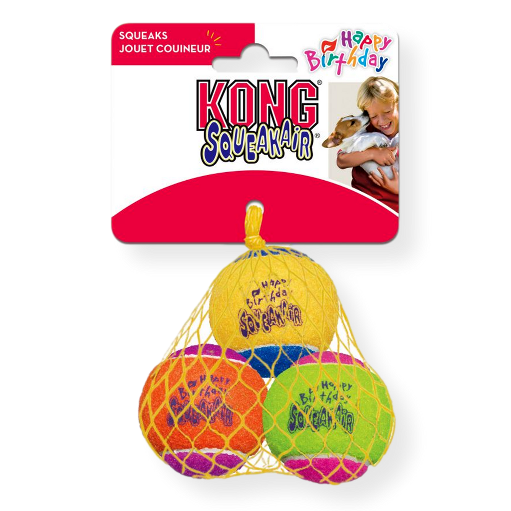 Kong Air Birthday Squeaker Ball Medium 3 pack