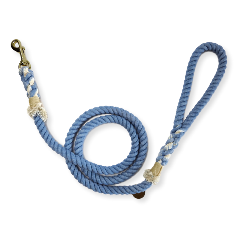 Tack & Twine Standard Cotton Leash China Blue