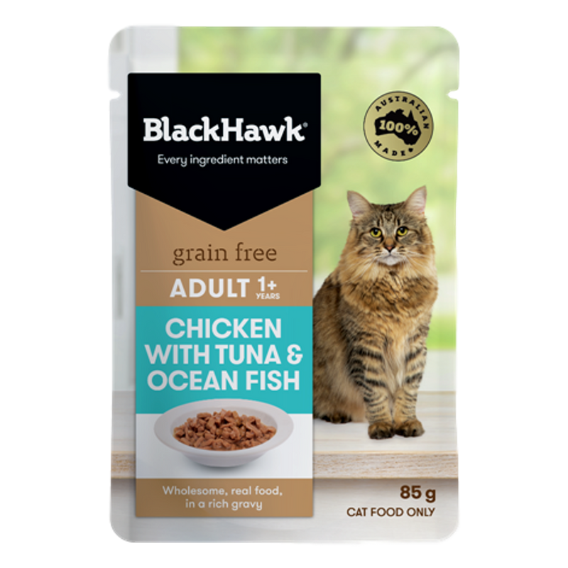 Black Hawk Chicken & Tuna Wet Cat Food Pouches 85g Single