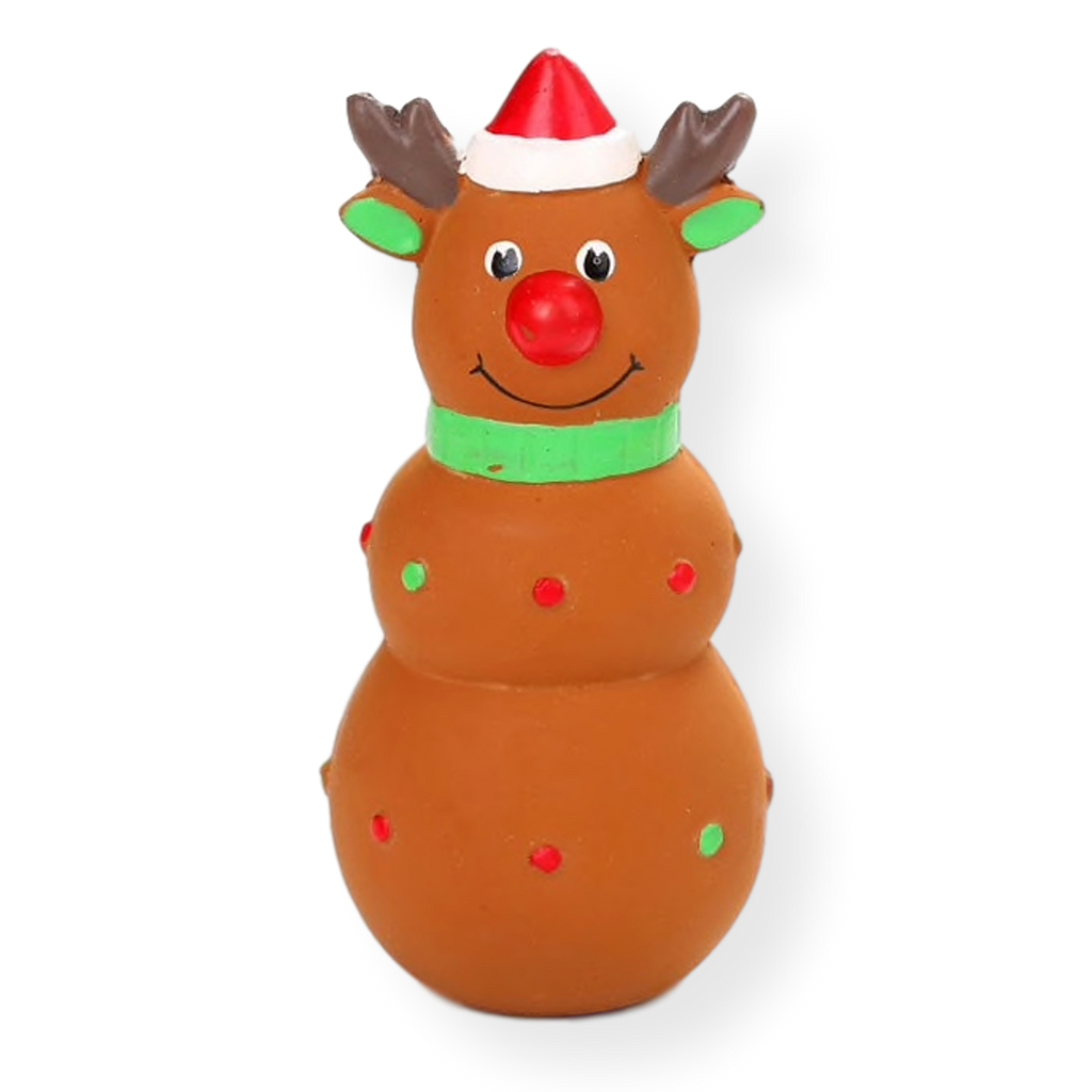 Bark & Bone Squeaky Christmas Rubber Reindeer Dog Toy 15cm