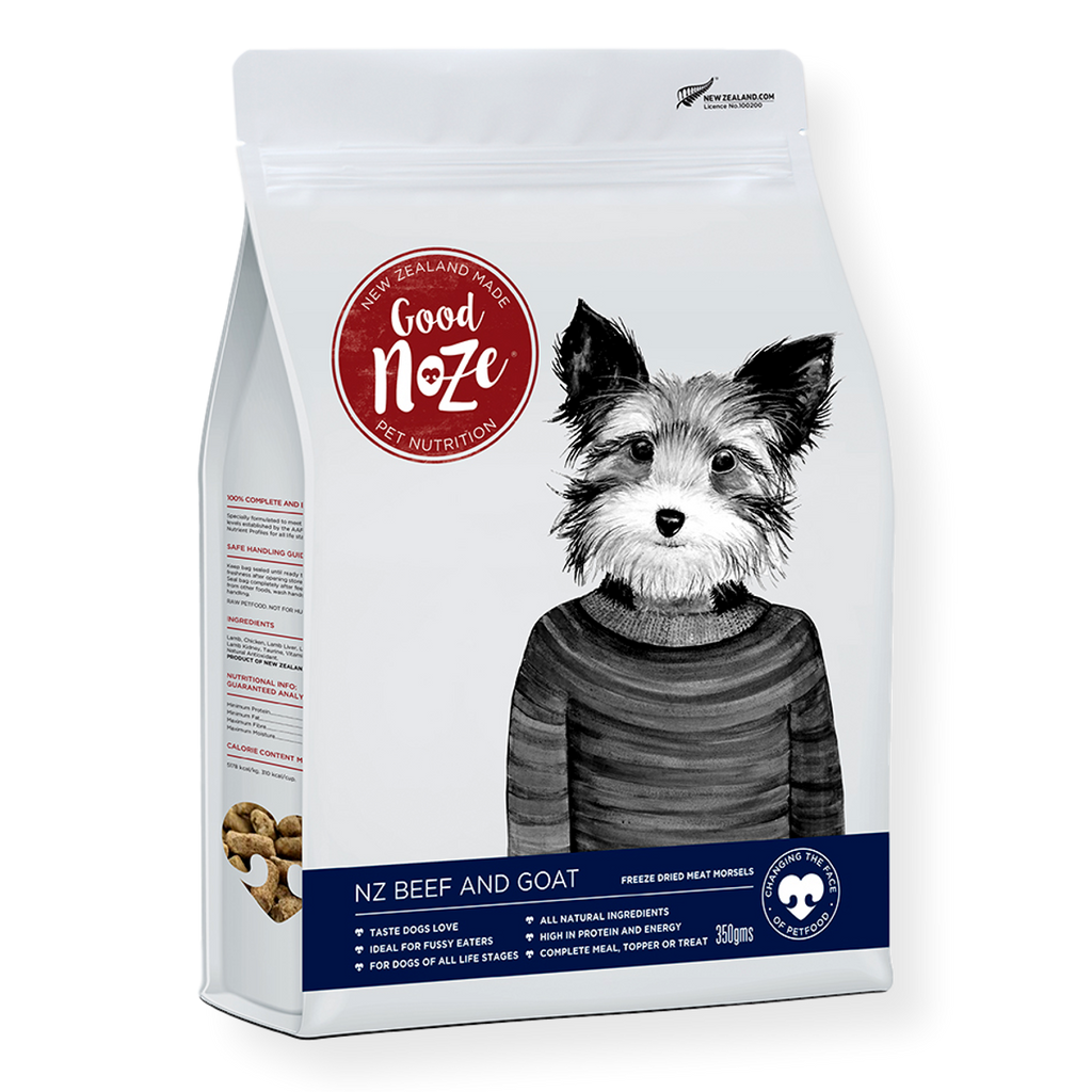 Goodnoze NZ Beef & Goat Freeze Dried Dog Food 350g
