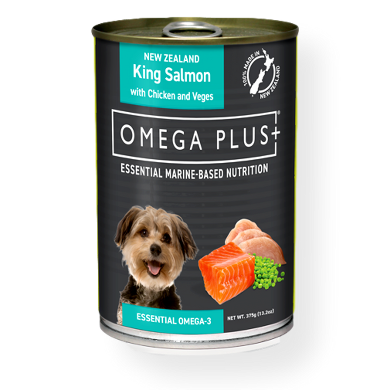 Omega Plus Canned Dog Food King Salmon & Chicken with Vegetables 375g