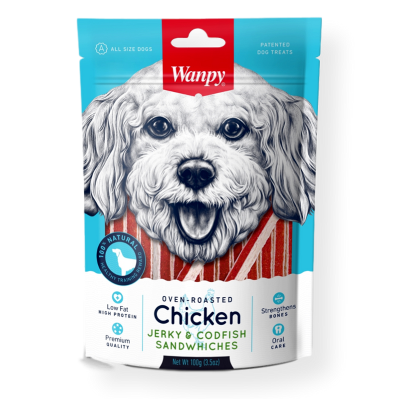 Wanpy Chicken & Codfish Sandwich Dog Treat 100g Default