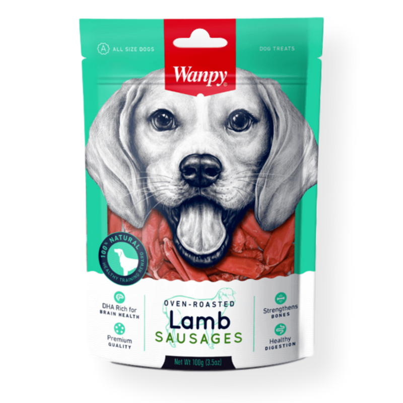 Wanpy Lamb Sausage Dog Treat 100g