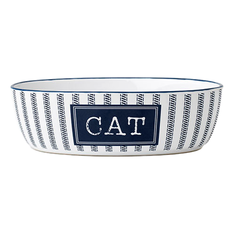 Petrageous Country Blue Handcrafted Oval Cat Bowl