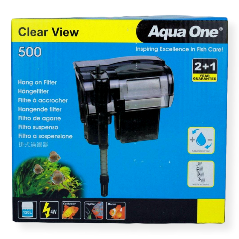 Aqua One H500 Clear View Hang On Filter 500L/hr